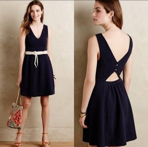 Anthropologie Maeve Navy fit and flare dress